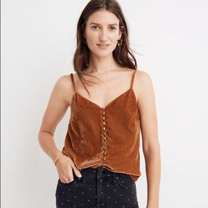 NWT Madewell Velvet Button Tank Top